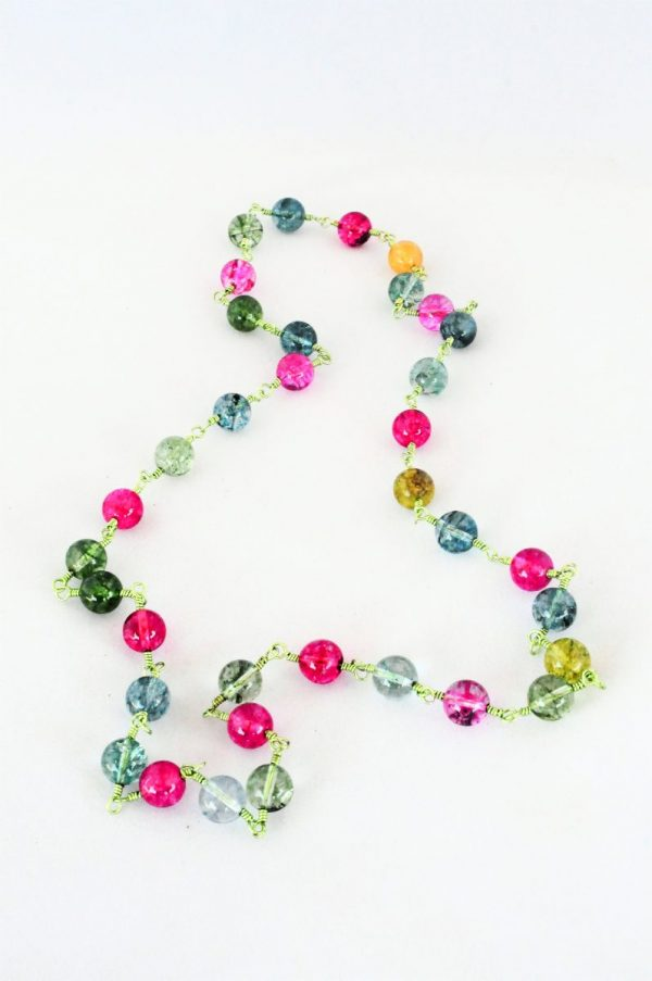 Crackled Quartz multi-color Necklace