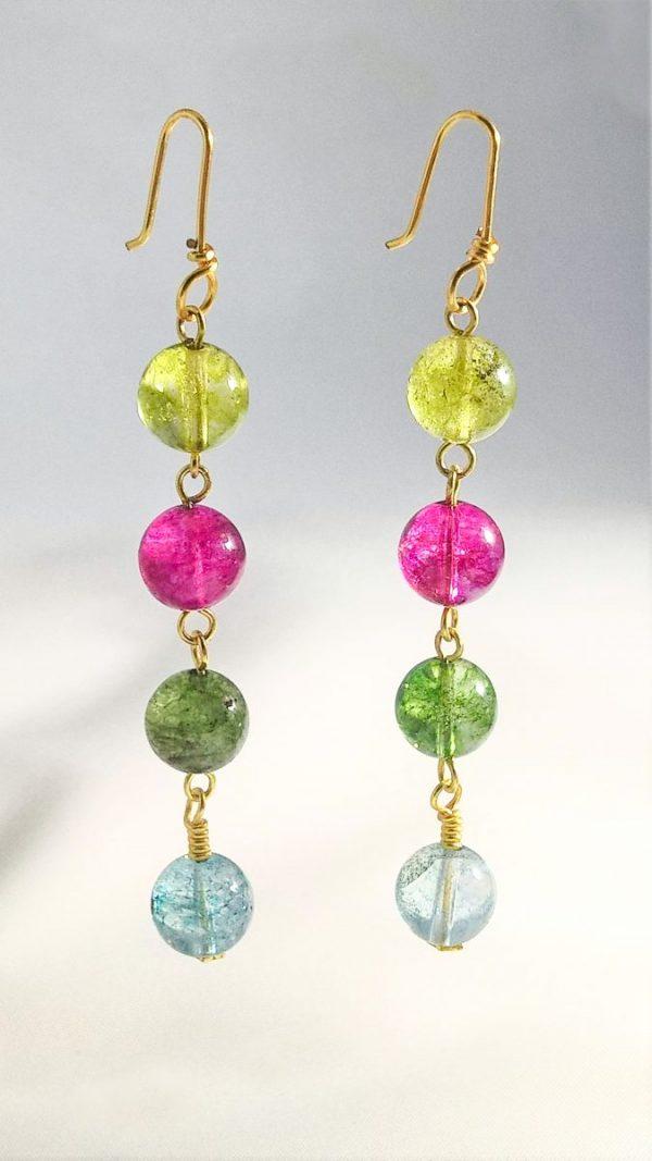 Crackled Quartz multi-color Earring