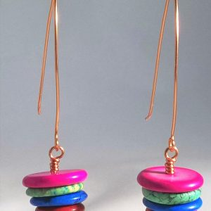 Earrings Multi-Color Howlite
