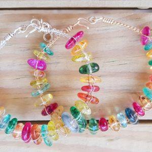 Multi-Color Crackled Quartz Wire bangle Irregular Nuggets