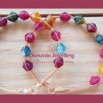 Multi-Color Crackled Quartz Bicone Wire bangle