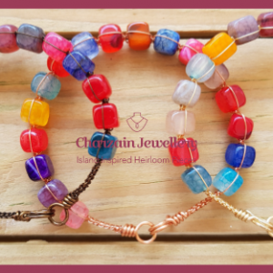Multi-Color Agate Wire bangle Cubes